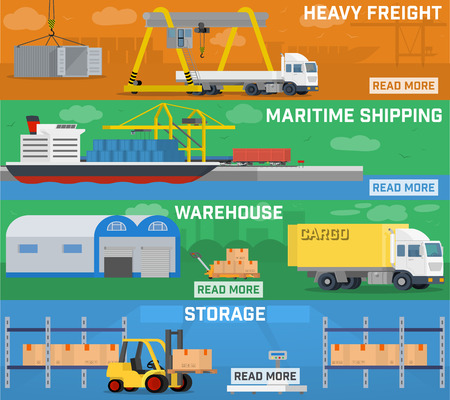 port: Warehouse and logistics banner set. Container ship at freight port terminal. Storage of cargo and goods at the warehouse. Loading of heavy loads and long-range truck. Local logistics, carrying goods on shops - vector concept