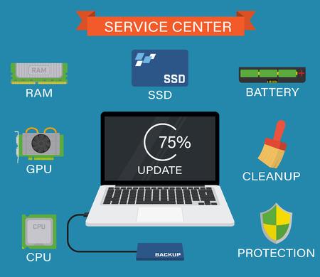 サービス センター - SSD、RAM、CPU、バッテリーなどであなたのラップトップのアップグレード。  イラスト・ベクター素材