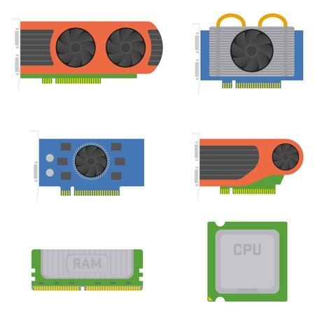vga: Computer elements - graphics cards, RAM, processor. Vector set.