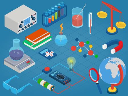 La educación y la escuela, objetos tecnológicos laboratorio de ciencia conjunto de iconos de diseño de la plantilla plana 3D isométrico moderno. Ilustración de vector