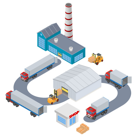 hangar: Manufacture Logistic - Factory, warehouse, shop, truck, forklift. Isometric illustration Illustration