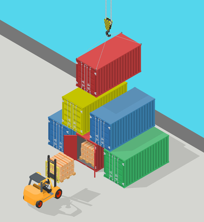 Marine cargo port. Unloading of sea cargo containers by a forklift. Closed containers and one outdoor. Isometric vector illustration. Vectores
