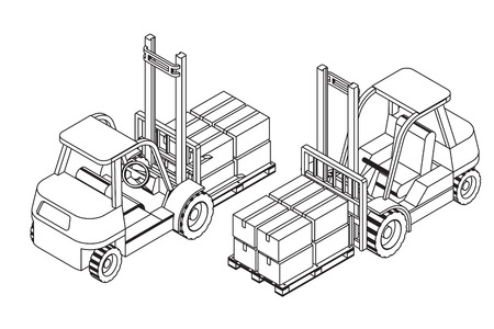 elevate: Forklift elevate the pallet with cardboard boxes - two isometric outline views vector illustration Illustration