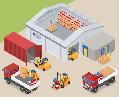 warehouse interior: Isometric warehouse interior, inside industrial scales, storage racks. The adjacent area are trucks, forklifts, container and office - vector illustration Illustration