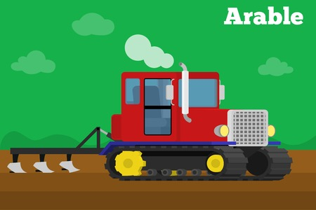 crawler: Vector isometric illustration of a agricultural crawler tractor with plow tillage a field. Equipment for agriculture. Arable stage.