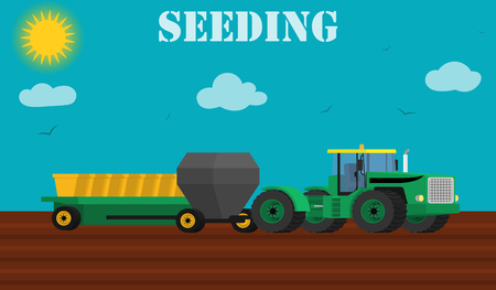tillage: Agricultura concepto de diseño - proceso de plantación de semillas con un tractor y sembradoras. ilustración vectorial Vectores