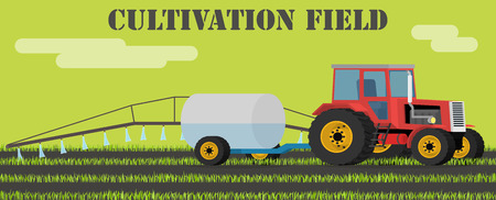 Agriculture design concept - tractor handles field of weeds and parasites. Illustration in flat design. Иллюстрация