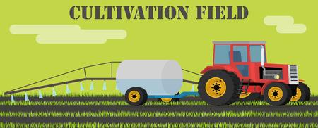 tillage: concepto de diseño Agricultura - tractor maneja ámbito de las malas hierbas y los parásitos. Ilustración de diseño plano. Vectores