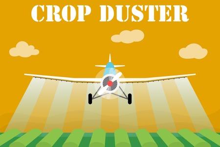 duster: Crop duster airplane spraying a farm field. Illustration