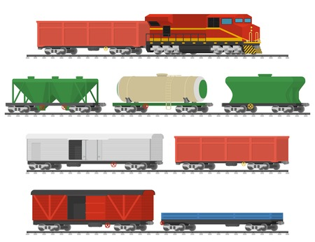 Essential Trains. Collection of freight railway cars. Isolated on white background.