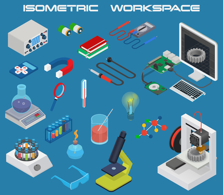 Isometric science concept with 3D design, electronics and chemistry equipment