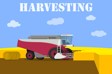 agricultural machinery: Agricultural machinery - vector red harvester working on the field Illustration