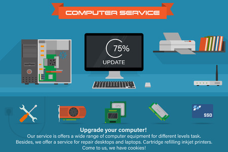 컴퓨터 서비스 배너입니다. 업데이트 프로세스 실행. 프린터 및 책이있는 데스크탑 컴퓨터.