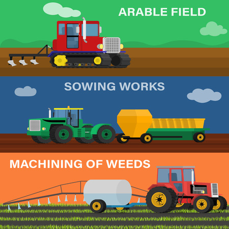 plough machine: Farming horizontal banner vector set of agricultural vehicles and farm machines. Illustration of the process of seeding, growing and care.