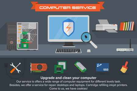 Computer service banner. Running the process of searching virus. Desktop computer with printer and books.
