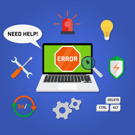 computer viruses: Concept computer technical support service with a laptop infected viruses and trojans. Means of restore functionality. 247 Support.
