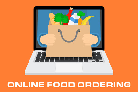 ordering: Flat design colorful illustration concept for online ordering of food, grocery delivery