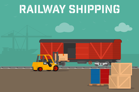 lading: Railway logistic concept transport delivery services. Cargo transportation by train. Workers loading and unloading trucks and rail car with forklifts. flat cargo .