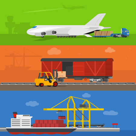 airway: Freight logistics and transportation ways featuring seaway cargo shipping airway freight. Delivery services abstract isolated illustration Illustration