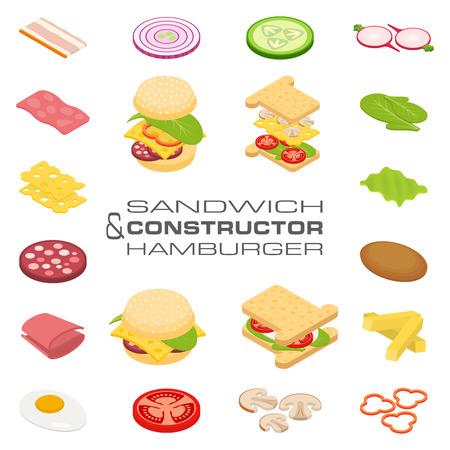 Stel vector constructeur isometrische sandwich en hamburger ingrediënten: ham, kaas, ei, ui, tomaat, komkommer, champignons, radijs, salade, kotelet, aardappel en peper