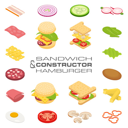 Set vector constructor isometric sandwich and hamburger ingredients: ham, cheese, egg, onion, tomato, cucumber, mushrooms, radishes, salad, cutlet, potato and pepper Illustration