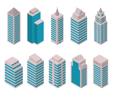 centers: Isometric set of vector tall buildings on a white background. Residential apartments, offices, shopping centers, hospitals and universities. European high-rise buildings. City constructor. Illustration