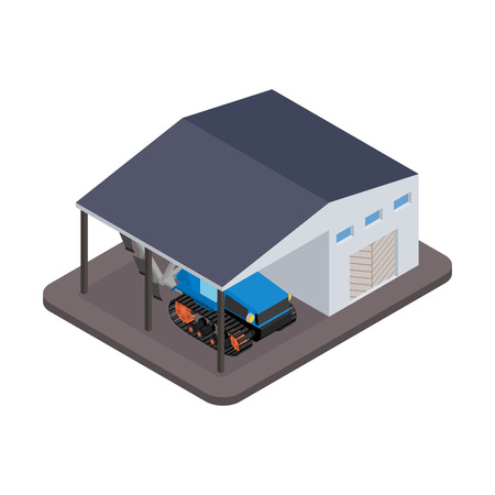 arable: Tractor for repairs at the garage - vector illustration