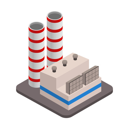 hangar: Vector isometric industrial factory buildings icon. Factory Landscape. Illustration