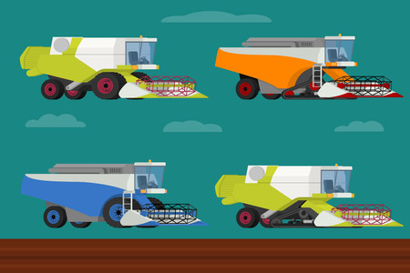 agriculture machinery: Vector set of agricultural vehicles and farm machines. Modern combine harvesters collection. Illustration in flat design. Agriculture machinery. Agriculture crop harvest.