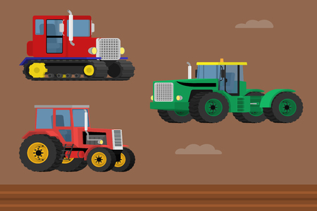 wheeled tractor: Agriculture machinery. Vector set of caterpillar tractor and wheeled farm tractors.