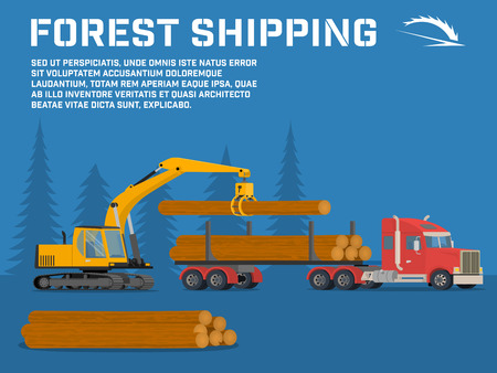 basis: Shipping timber. Loading felled trees in the timber crane on the basis of an excavator.