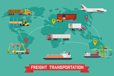 cargo transport: Freight Transport and Packaging Infographics in Flat style icons such as Truck, Plane, Train, Ship. Illustration