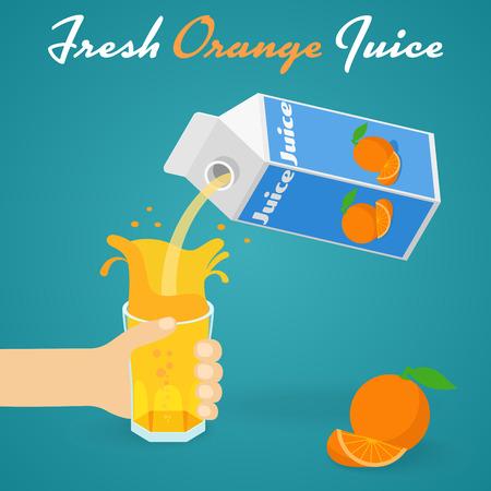 pouring: Pouring Orange Juice A man pours a glass of orange juice. illustration