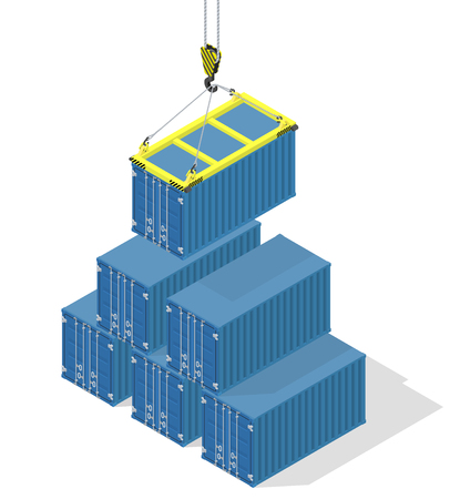 bulk carrier: Pyramid of sea containers. The top container lowered the crane - isometric illustration with shadows
