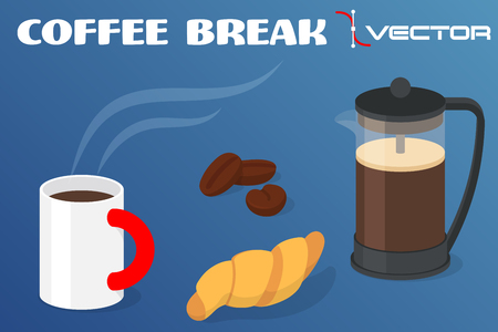 intermission: Coffee break - cup of coffee with croissant and pot with coffee grains. illustration.