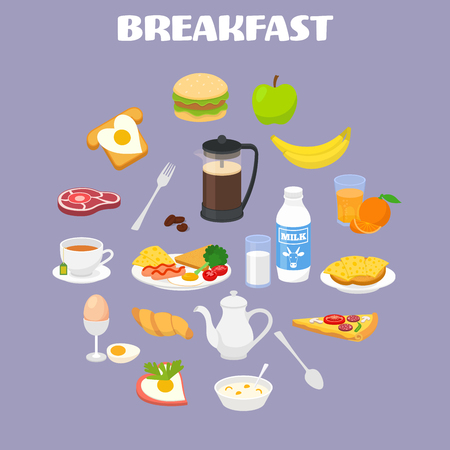 good break: Breakfast concept with fresh food and drinks icons set