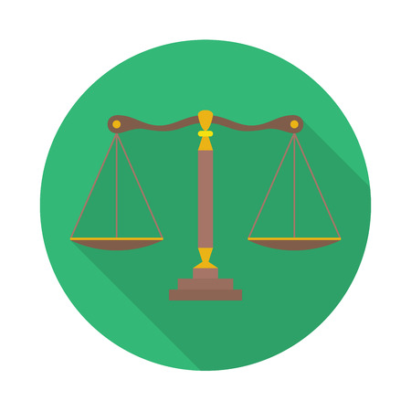 acquit: Scales of Justice sign. Law balance symbol - vector icon with long shadow Illustration