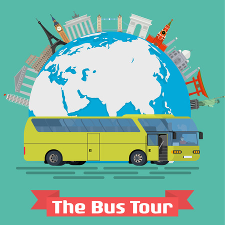 bus tour: Vector conceptual illustration - The Bus Tour of Europe and popular familiar landmarks. Globe with monuments and green touristic bus.