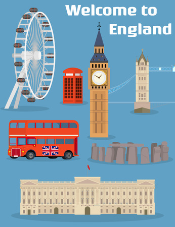 eye red: Welcome to England - Vector set of the London famous place and landmark with Tower Bridge, Big Ben, London Eye, Red phone booth, Red double-decker bus and Buckingham Palace. On flat style Illustration