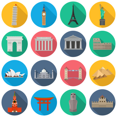 Vector icons of the worlds monuments. Leaning Tower of Pisa, Big Ben, Eiffel Tower, Statue liberty, Triumphal Arch, Brandenburg Gate, Parthenon, Colosseum, Opera House, Taj Mahal, Tower Bridge, Pyramids of Giza, Acropolis, Sea Gate, Moai, Great Wall