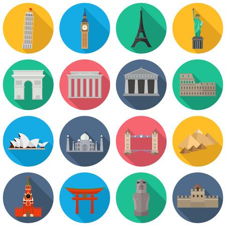 Vektor-Icons von den Welten Denkmäler. Der schiefe Turm von Pisa, Big Ben, Eiffelturm, Statue Freiheit, Triumphbogen, Brandenburger Tor, Parthenon, das Kolosseum, das Opernhaus, Taj Mahal, Tower Bridge, Pyramiden von Gizeh, die Akropolis, Sea Gate, Moai, Chinesische Mauer