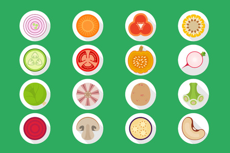 greens: Vector vegetables set of icons rounded style - onions, carrots, peppers, corn, cucumber, tomato, pumpkin, radish, cabbage, garlic, potatoes, greens, beets, mushrooms, eggplant, beans