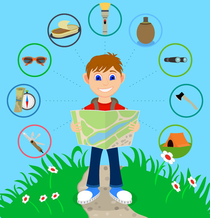 backpacker: Cartoon traveler with a large backpack and icons including including a knife, map and compass, sunglasses, canned food, flashlight, canteen, binoculars, axe and a tent. Backpacker illustration Illustration