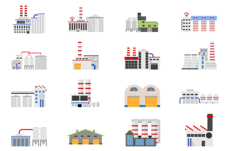 coal power station: Industrial and manufacturing factory building. Vector icon set in the flat style. Illustration