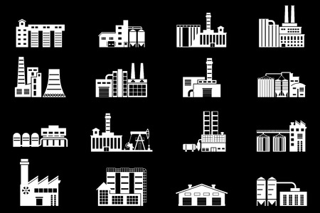 manufactory: Set of industry manufactory building icons. Plant and factory, power and smoke, oil and energy, nuclear manufacturing station. Vector illustration