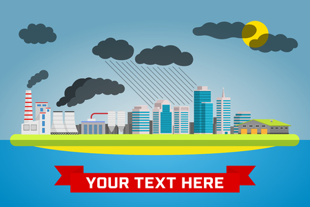 polluted cities: Urban pollution landscape. Ecology, environmental protection: production, factory, plant, pollution, smoke, building. Vector flat illustrations
