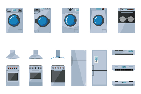 A set of large household appliances on a white background
