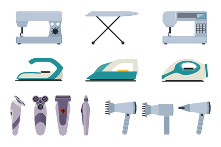 stereotypical: Set of small household appliances on a white background