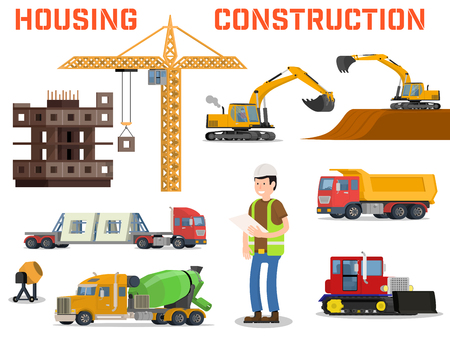 measured: Construction machines builders and house building process. Process of building the house. Engineering measured, architectural work, builders make a house. Vector flat illustration Illustration
