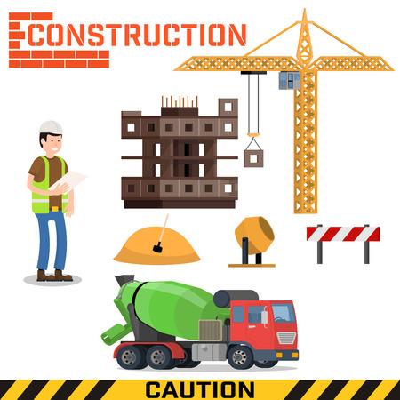 building site: Construction site, building a house - vector flat illustration.